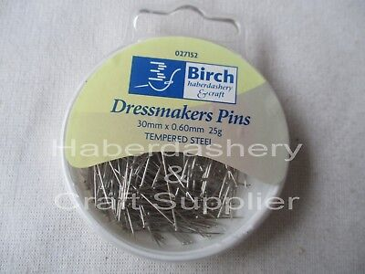 Pins Dressmaker 30Mmx 0.60Mm 25Grams Tempered Steel