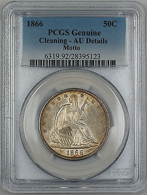 "1866 ""Motto"" Seated Liberty Half Dollar 50c PCGS Genuine AU Details Cleaning"