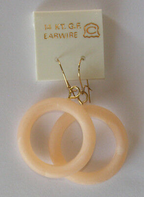 VINTAGE PIERCED EARRING PINK PLASTIC HOOPS GOLD FILLED POSTS 70's 60's O