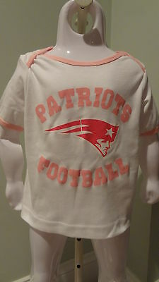 NWT NFL New England Patriots Infant White/Pink SS Team Tee: 12, 18 & 24 months