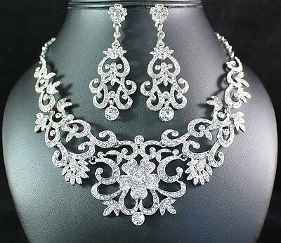 Gorgeous Austrian Rhinestone Crystal Bib Necklace Earrings Set Bridal Prom N1515