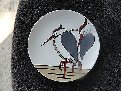 Fitz and Floyd Variations Herons Rust Gray Tan White Birds White Salad Plate