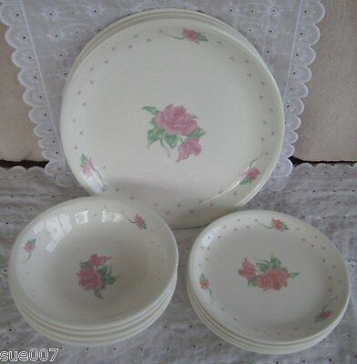 Vtg Tabletops Unlimited Pink Rose Ironstone Dinnerware Svc for 4 Plates Bowls