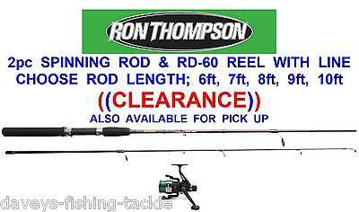 RON THOMPSON 2pc SPINNING ROD+RD 60 REEL+LINE 6 7 8 9 OR 10 ft SEA PIER FISHING