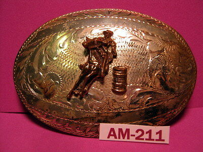 OLD Tex-Tan SOLID STERLING SILVER FRONT Barrel Racing Belt Buckle MAKE AN OFFER