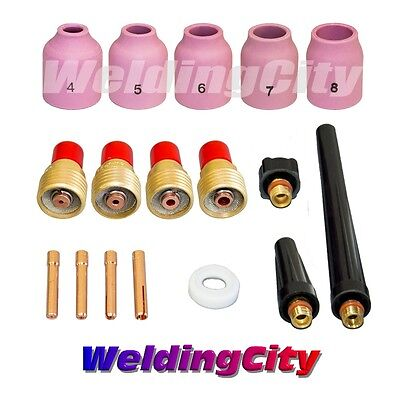 """WeldingCity  Gas Lens-Cup-Collet 0.040""""~1/8"""" kit T32 for TIG Torch 9/20/25"""