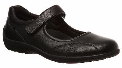 Ladies Shoes Grosby Janna Black Leather Mary Jane Comfort Work Shoe Size 6-11