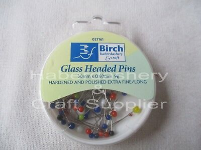 Pins Color Glass Headed 30Mmx 0.60Mm 9Grams Assorted