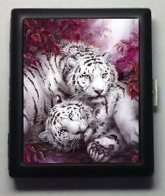 White Tigers  Tiger  Metal Wallet  ID  Business Card  Cigarette Case  #345