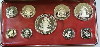 1974 Bahamas Proof Set with 4 Silver Coins 9 Total as Issued in Case with COA