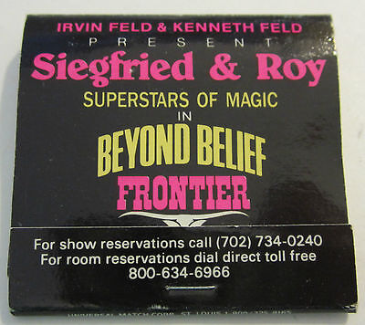 Frontier Hotel & Casino Las Vegas Siegfried & Roy Superstars Of Magic Matchbook