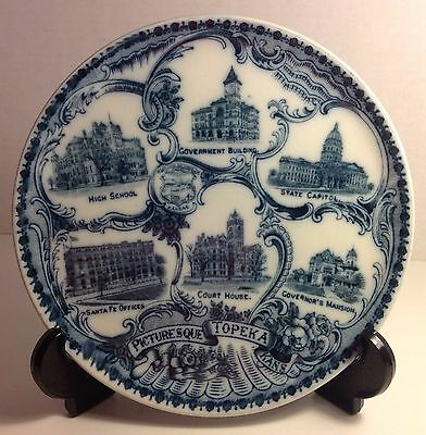 Antique Wheelock England Flow Blue Souvenir Plate Charger Topeka Kansas