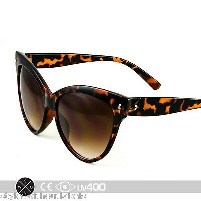 0965a813ba21 High Pointed Oversized Cat Eye Sunglasses Vintage TORTOISE 50s Retro Pin Up  S004