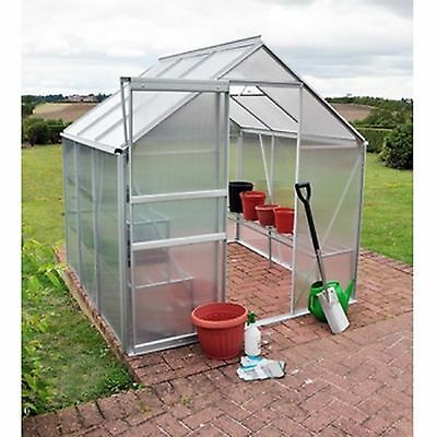 Outdoor Aluminium Frame Garden Greenhouse and Base Polycarbonate (6 ft x 6 ft)
