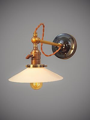 Vintage Industrial Wall Sconce -Machine Age Lamp w/ Brass Cone - Steampunk Light