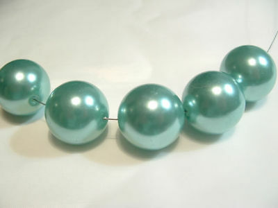 BNAPL04a Turquoise: 6 x 20mm Acrylic Pearl Beads
