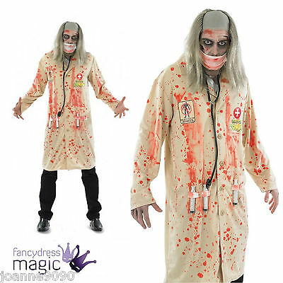 Mens Adult Zombie Doctor Fancy Dress Halloween Costume Stethoscope And Syringes