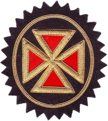 Masonic Knight Templar Grand Commandery Cross Rosette Hand Embroidered (Me-051)