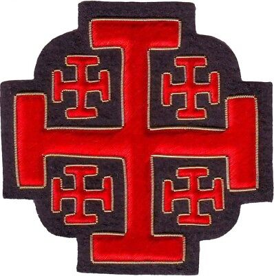 Heraldry Jerusalem Crusaders Tau Cross Emblem Patch Hand Embroidered (Me-060)