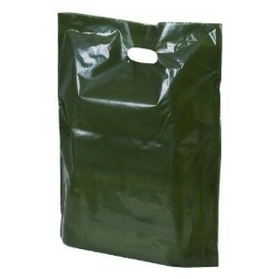 Green Plastic Shopping Carrier Bags 15 x 18 x 3 Inch Patch Handle 100 500 1000
