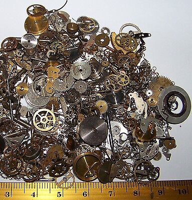 FREE USA SHIP Gears Craft Lot 10g Old Steampunk Watch Parts Pieces Cogs Wheels