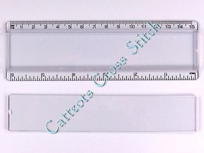 """Acrylic 6"""" 150mm Ruler with Insert for Cross Stitch"""