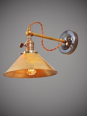 Industrial Lighting - Vintage Brass Wall Sconce Steampunk Lamp - Art Deco Light