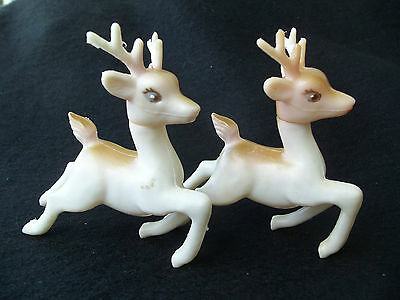 Vintage Plastic Prancing Reindeer!  2!!   HEADS MOVE!   SO CUTE!!