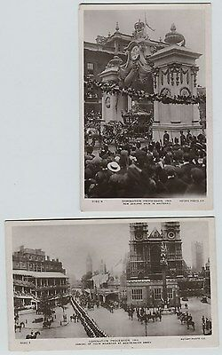 2 1911 Coronation Procession England Real Photo Postcard RPPC