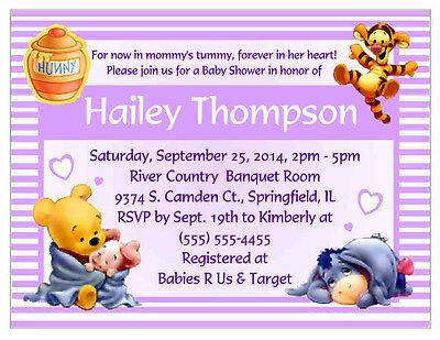 20 WINNIE THE POOH BABY SHOWER INVITATIONS - PURPLE