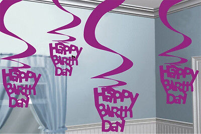 Happy Birthday Pink Hanging Foil Swirls Decorations