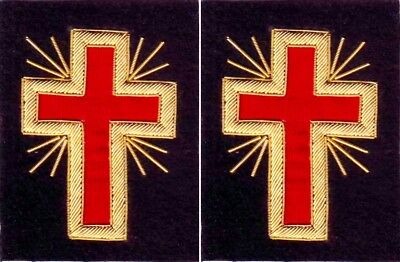 Masonic Knight Templar Past Commander Sleeve Cross Pair Hand Embroidered (Me-053