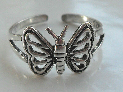 Sterling Silver (925) Adjustable Butterfly Toe Ring