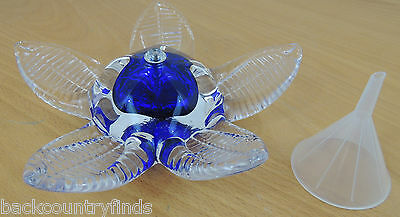 Cobalt Blue Glass Floral Oil Lamp Candle Art Wick Funnel Beautiful