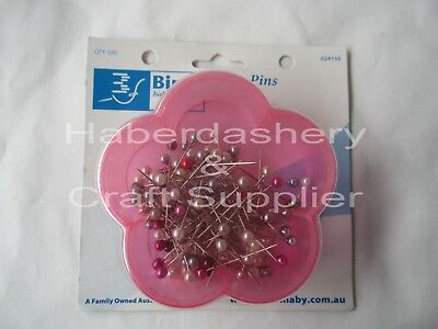 Pins Berry Pearl In Pink Flower Box 100 Pins 33Mm Long