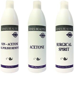 Vines Beauty Acetone, Non-Acetone Nail Polish Remover and Surgical Spirit 500ml