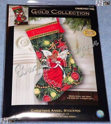 Dimensions Gold CHRISTMAS ANGEL Herald STOCKING Needlepoint Kit -L. Green- 9135