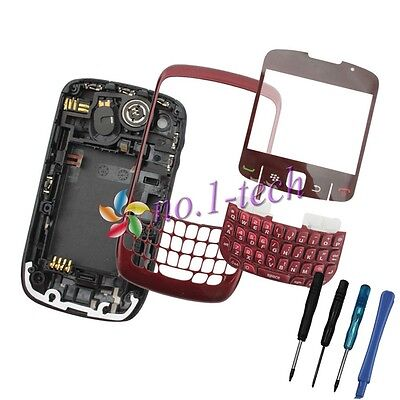 Red Housing Frame Middle Back Cover Keypad For Blackberry Curve 8520 + Tools