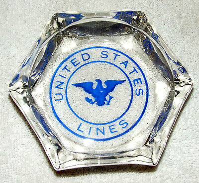 Vintage U.S. LINES S/S UNITED STATES Official Boat Ship Glass Crystal Ashtray