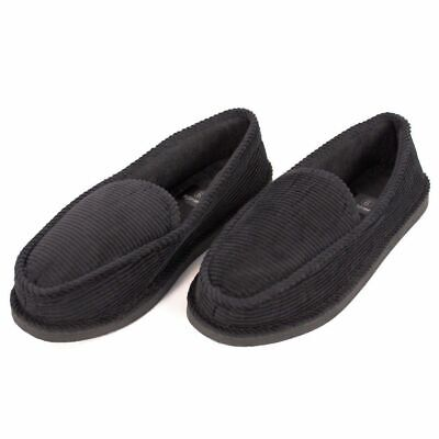 Mens House Slippers Black Corduroy Slip On Moccasin Shoes for Indoor Outdoor -18