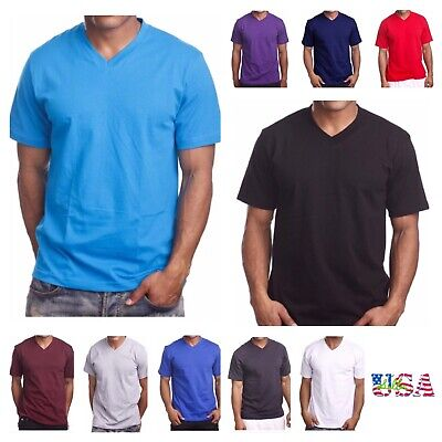26f80358672a MEN'S T-SHIRT HEAVY WEIGHT Plain V-Neck BIG AND TALL Hip Hop GYM ...