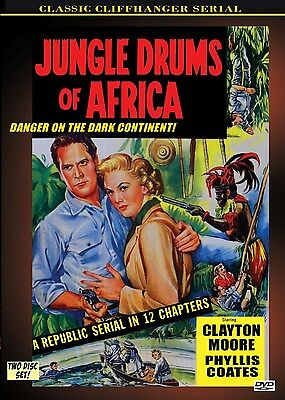 JUNGLE DRUMS OF AFRICA - Cliffhanger serial  2 disc DVD- CLAY MOORE