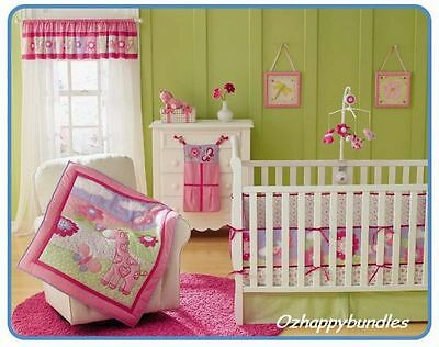 New Baby Girls 7 Pieces Cotton Nursery Bedding Crib Cot Sets-- Pink Giraffe