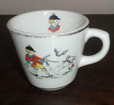 SHENANGO CHINA CHILDREN'S TEA CUP  HUNTING SCENE WITH DOGS