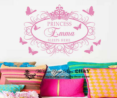 Princess Crown Butterflies Personalized Custom Name Wall Stickers Nursery Decor