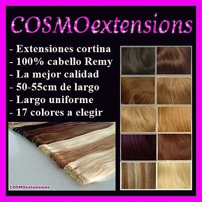 Extensiones Pelo Cortina Cabello Natural Remy,100Gramos, 50-55Cm Largo