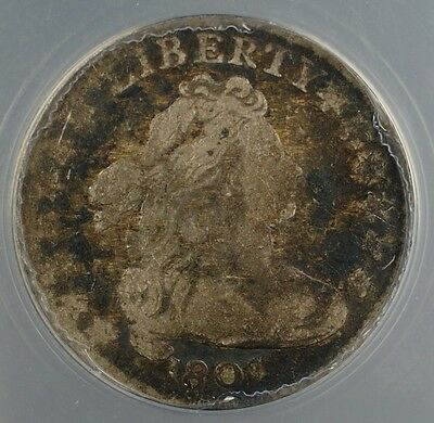 1807 Draped Bust Silver Dime 10c ANACS AG-3 JR-1 About Good Coin GBr