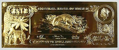 $5 Ocelot- The First Gold Bank Notes of Belize w/ Presentation Card