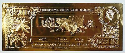 $20 Peccary-The First Gold Bank Notes of Belize w/ Presentation Card