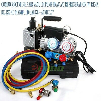 Combo 3.5Cfm 1/4Hp Air Vacuum Pump Hvac A/c Refrigeration Kit Ac Manifold Gauge